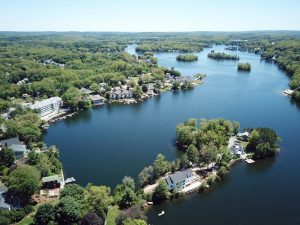 Aerial photograph of Lake Quinsigamond in Worcester MA