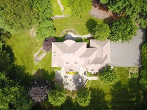 drone photograph of real estate and landscaping