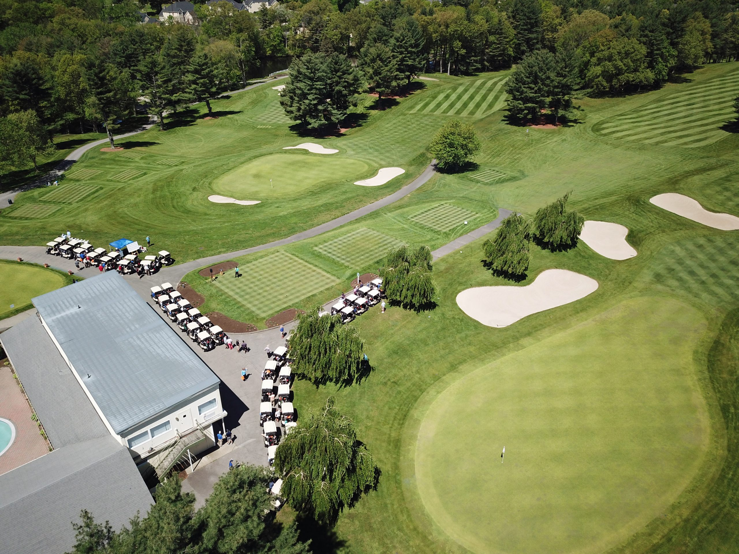 golf course aerial view with clubhouse