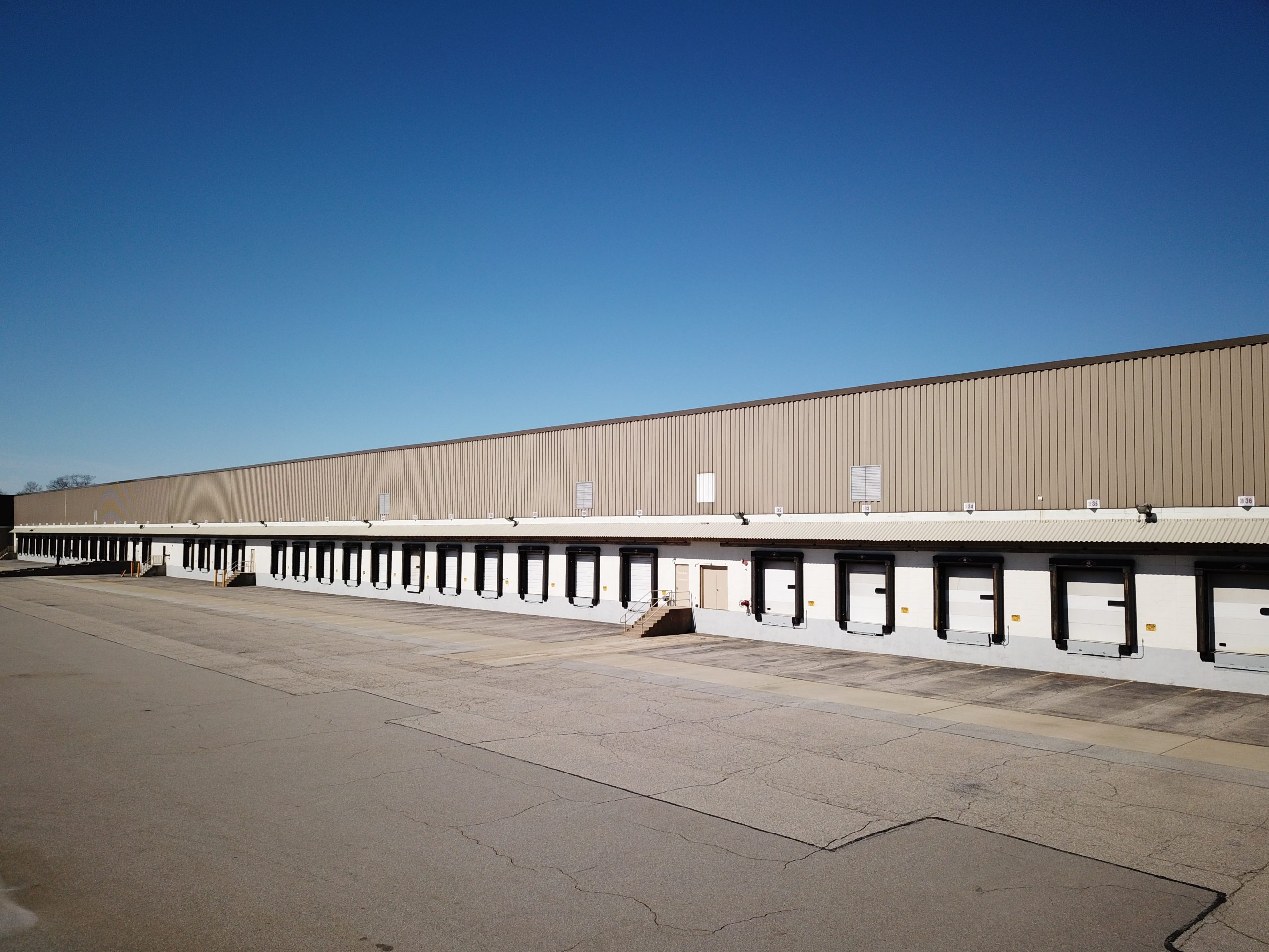 loading docks of commercial real estate drone photograph