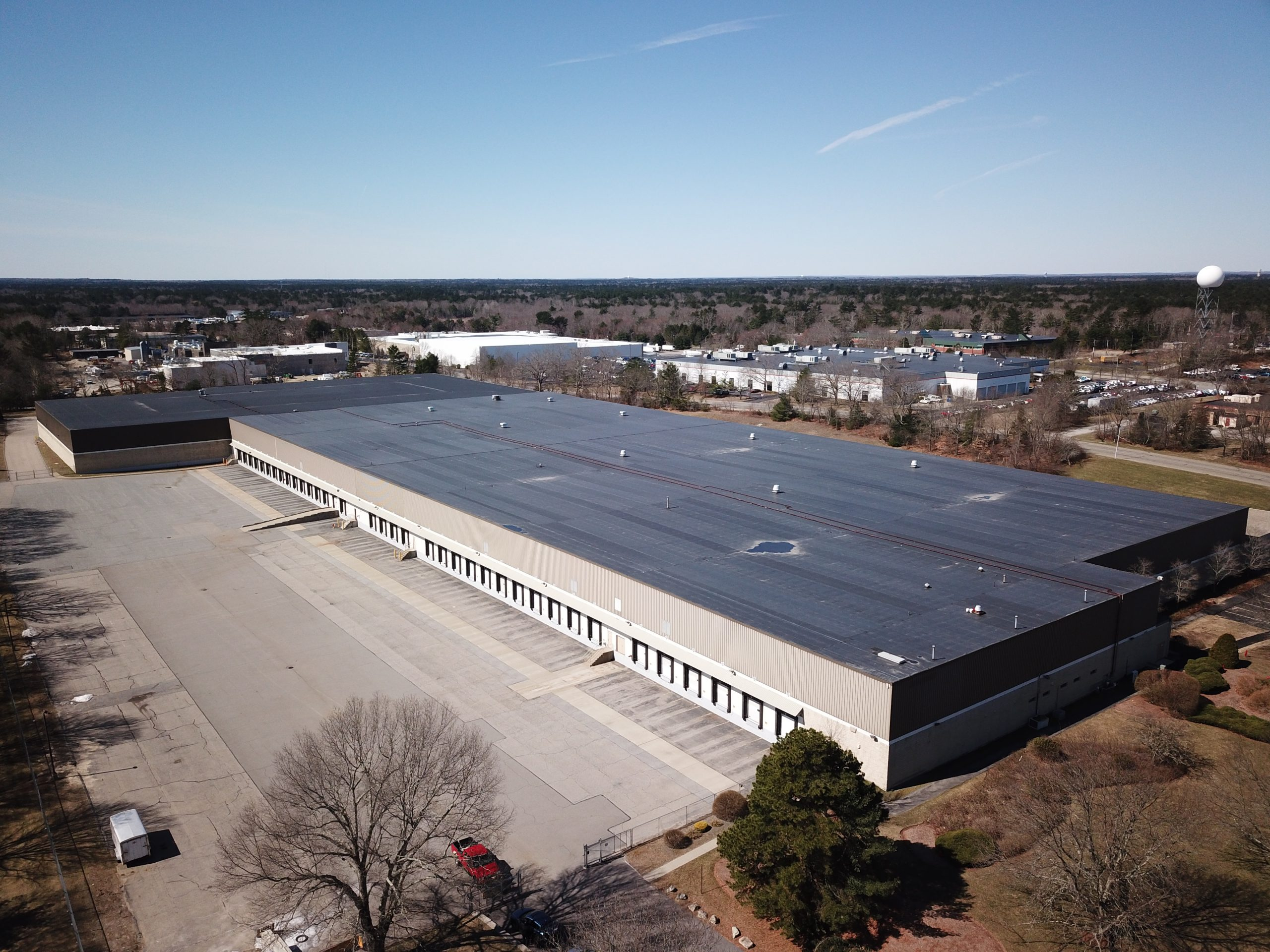 aerial view of commercial real estate loading docks